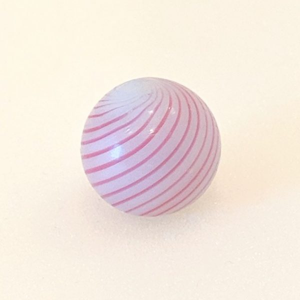 16 pink lines on opaque white base clambroth. Nice twist.  Great looking marble in a difficult size.
