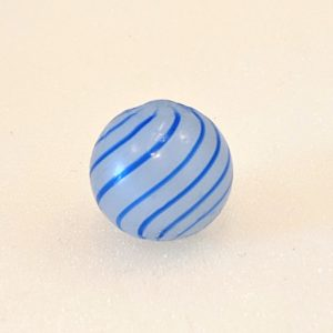 Semi-translucent white clambroth with 11 blue nice evenly spaced lines.  As-made indent.