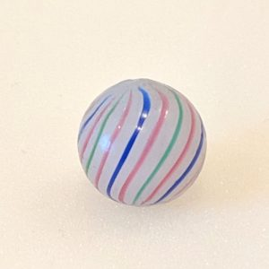 3 color milky white base clambroth with 18 perfectly spaced repeating red-blue-red-green line pattern. Blue submarine line inside.  An excellent example rarely found for sale. Small touch spot.