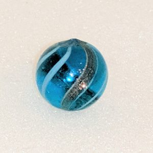 Transparent aqua glass lutz with white bands.  The tiniest flea