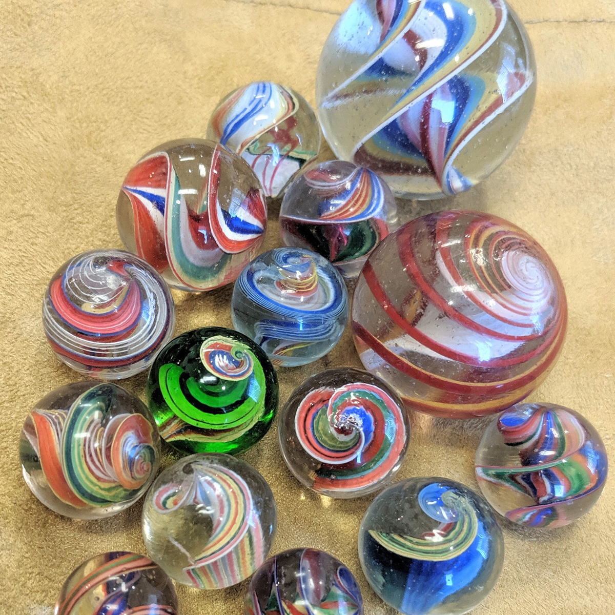 Group of Ribbon Core Swirl marbles