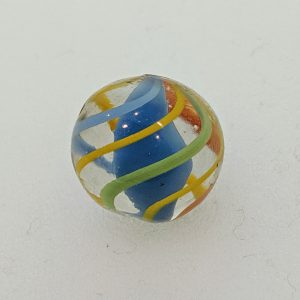 Blue solid core. 3 thin yellow outer ribbons alternating with 1 blue