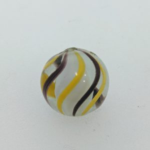 White solid core. 3 unusual purple & 3 yellow outer ribbons.  1 minor nick