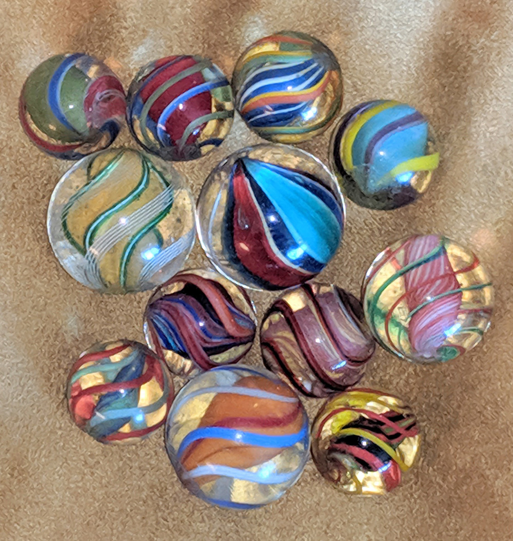 Group of Solid Core Swirl marbles